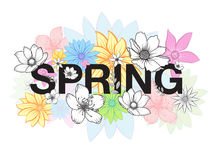 Spring time wording with hand drawn colorful flowers on white background Royalty Free Stock Photo