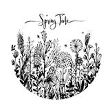 Spring time wording with hand drawn flowers in a circle, Set of black doodle elements, grass, leaves, flowers. Vector vector illustration