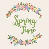 Spring Timer - Colorful Flower Illustration - vector eps10. Spring Timer - Colorful Flower Illustration -  - vector eps10 - pink, rose, yellow, blue Royalty Free Stock Photo