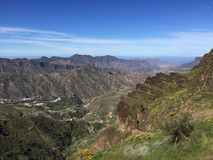 Spring on the top of the Island of Gran Canaria. View of the summit of the Island of Gran Canaria with colors and spring flowers, Spain stock photo