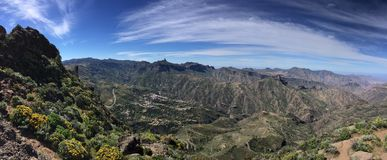 Spring on the top of the Island of Gran Canaria. View of the summit of the Island of Gran Canaria with colors and spring flowers, Spain royalty free stock photography