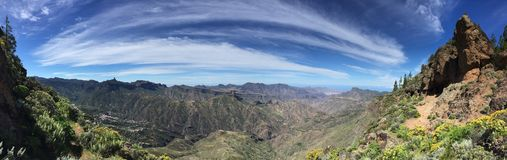 Spring on the top of the Island of Gran Canaria. View of the summit of the Island of Gran Canaria with colors and spring flowers, Spain royalty free stock image