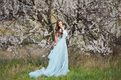 Spring touch. Happy beautiful young woman in blue dress enjoy fresh flowers and sun light in blossom park at sunset. Spring touch. Happy beautiful young woman Stock Images