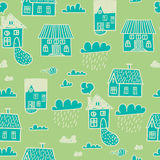 Spring town. Seamless  pattern Stock Images