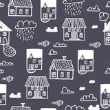 Spring town. Seamless  pattern Stock Photos