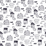 Spring town. Seamless  pattern Stock Photography