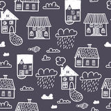 Spring town. Seamless  pattern Royalty Free Stock Images