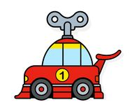 Spring toy racing car with wind up key. For children or to depict eco friendly transportation - vector illustration Stock Image