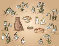 Spring traditional food among the snowdrops hand drawn colorful illustration vector illustration