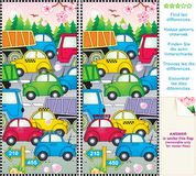Spring traffic jam find the differences picture pu Royalty Free Stock Image