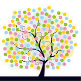 Spring tree. Colorful illustration of an abstract spring tree, isolated on white Royalty Free Stock Photos