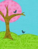 Spring tree. Digital collage-style pink tree on green hills against a blue sky with two little birds Stock Images