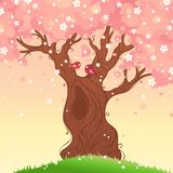Spring tree background. Spring landscape. Vector illustration. There is place for your text Stock Photo