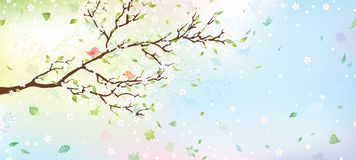 Spring tree background. Nature background for your design with place for your text on the right. Vector illustration Stock Images