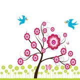 Spring tree & birds. Stylized spring tree & birds, background Stock Photography