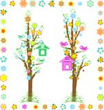 Spring tree with birds with birdhouse and flower Royalty Free Stock Images