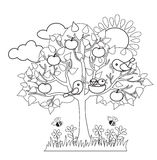 Spring tree, birds build nests, seasonal signs of spring. Royalty Free Stock Photography