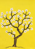 Spring tree in blossom, painting Stock Image