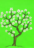 Spring tree in blossom, painting Royalty Free Stock Photos