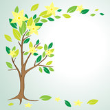 Spring tree. With bright green leaves vector stock illustration