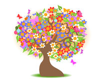 Spring tree with colorful flowers Royalty Free Stock Photo
