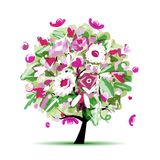 Spring tree floral for your design Royalty Free Stock Photos
