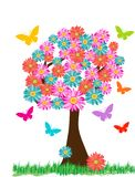 Spring Tree Flowers Butterflies stock photography