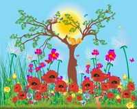 Spring tree and flowers. Composition of spring tree, flowers and animals Royalty Free Stock Images