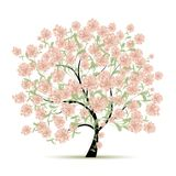 Spring tree with flowers for your design Royalty Free Stock Image