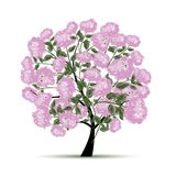 Spring tree with flowers for your design Stock Photos