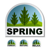 Spring tree forest stickers Royalty Free Stock Photo