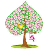 Spring - tree and funny bird. One of Four seasons - spring - tree and funny bird Royalty Free Stock Photo