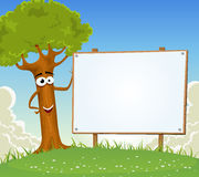Spring Tree Holding Blank Billboard Stock Photography