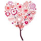 Spring Tree Made Of Big Heart Stock Photos