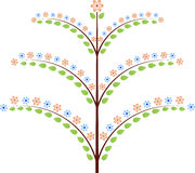 Spring Tree with Pink and Blue Flowers Illustration. Green leave spring tree with pink and blue flowers, flora, nature, plants Stock Photos