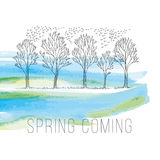 Spring tree sketch vector Stock Images