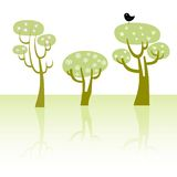 Spring trees. With flowers and a bird, vector illustration Royalty Free Stock Image