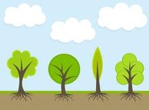 Spring trees illustration Stock Photos