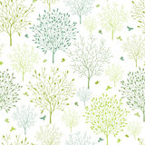 Spring trees seamless pattern background Royalty Free Stock Photo