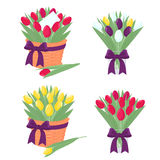 Spring tulip bouquet silhouette Stock Images