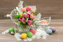 Spring tulip flowers Easter eggs vintage decoration stock photo