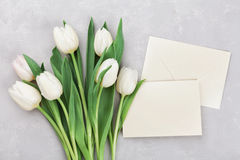 Spring tulip flowers and paper card on gray stone table top view in flat lay style. Greeting for Womens or Mothers Day. Stock Images