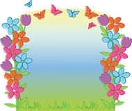 Spring tulips and butterflies. The vector illustration contains the image of spring tulips and butterflies Royalty Free Stock Images