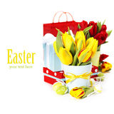 Spring tulips with easter eggs Stock Photo