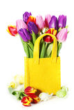 Spring tulips with easter eggs Stock Image