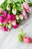 Spring tulips and Easter eggs Stock Photography