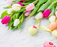Spring tulips and Easter eggs Stock Images