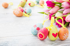 Spring tulips and Easter eggs Stock Image