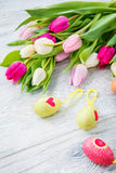 Spring tulips and Easter eggs Royalty Free Stock Image