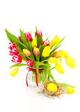 Spring tulips with easter eggs Royalty Free Stock Image